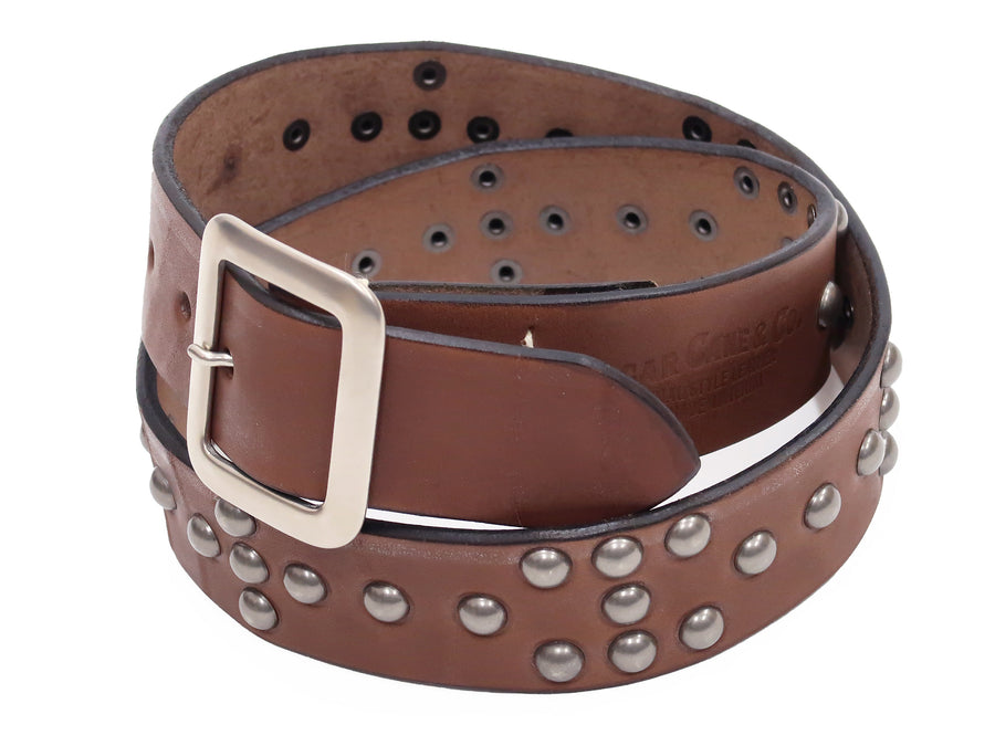 Sugar Cane Studded Leather Belt SC02321 Men's Ccasual from Japan Beige