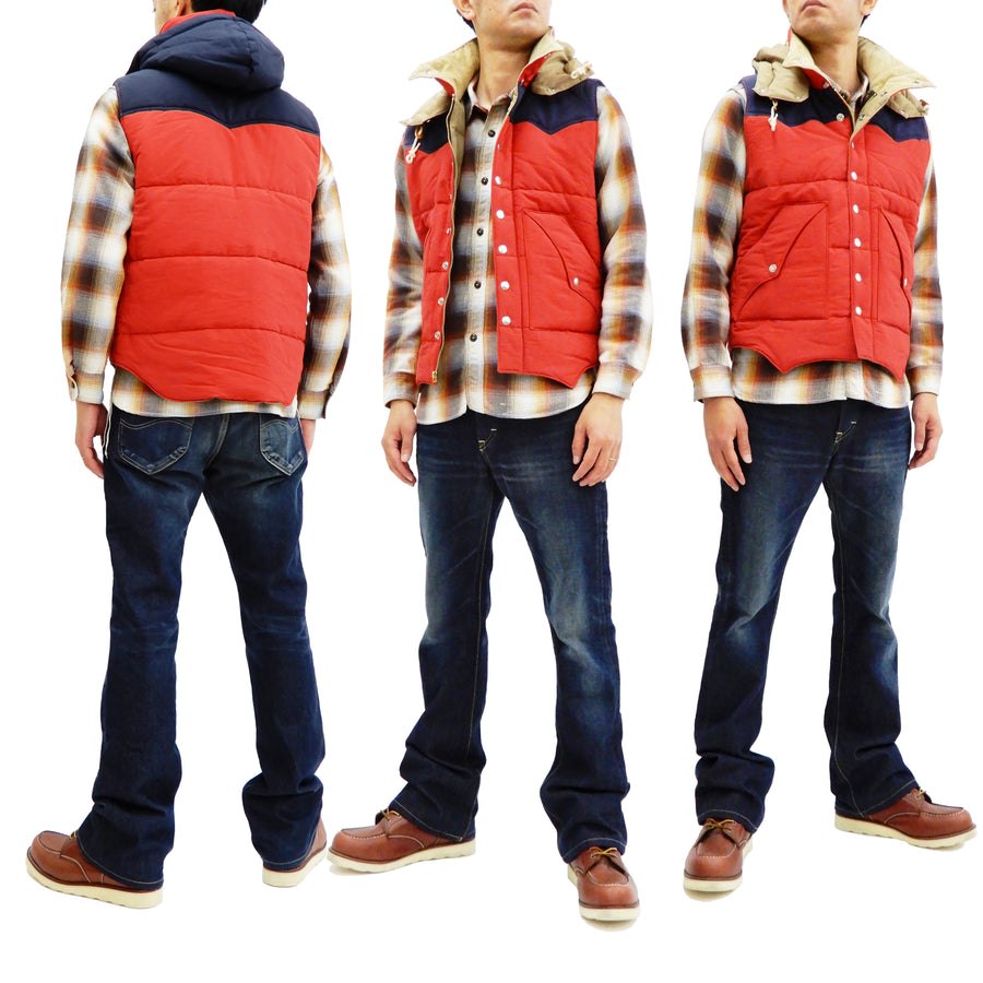 Sugar Cane Men's Quilted Vest with Yoke Panel 60/40 fabric Padded Vest SC13068 Red/Navy
