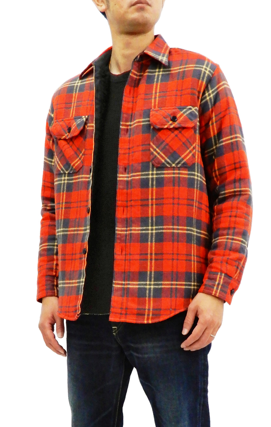 Sugar Cane Men's Sherpa Lined Shirt Jacket Twill Check Plaid Long Sleeve SC14282 Red