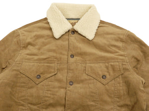 Sugar Cane Men's Padded Corduroy Trucker Jacket with Faux Shearling Collar SC14645 Beige