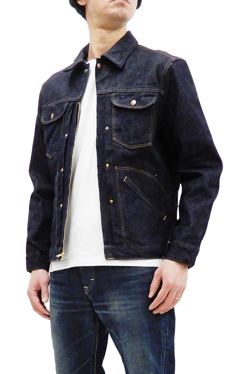 Sugar Cane Zip-up Denim Jacket Men's Jean jacket Wrangler 24MJZ Style SC14841 421 One-washed