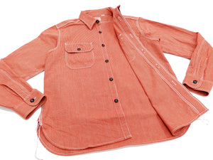 Sugar Cane Men's Casual Corded Stripe Work Shirt Long Sleeve Button Up Shirt SC25511 Red