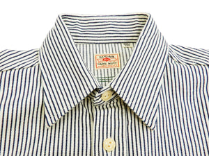 Sugar Cane Men's Embroidered Long Sleeve Hickory Stripe Work Shirt SC27988 Off-White
