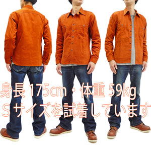 Mister Freedom Trailblazer Shirt Men's Long Sleeve Shirt Sugar Cane SC28255 Rusty-Orange
