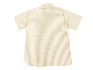 Sugar Cane Men's Ecru Colour Wabash Stripe Work Shirt Short Sleeve Button Up Shirt SC37275