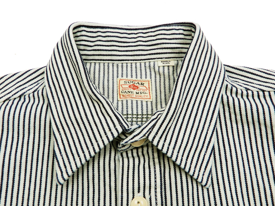 Sugar Cane Men's Casual Hickory Stripe Work Shirt Short Sleeve Button Up Shirt SC37944 Off-White