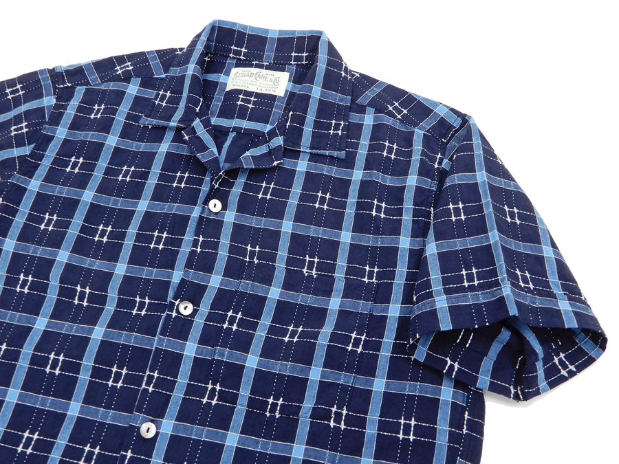 Sugar Cane Men's Dobby Plaid Short Sleeve Casual Button Up Checked Shirt SC38456 Navy-Blue