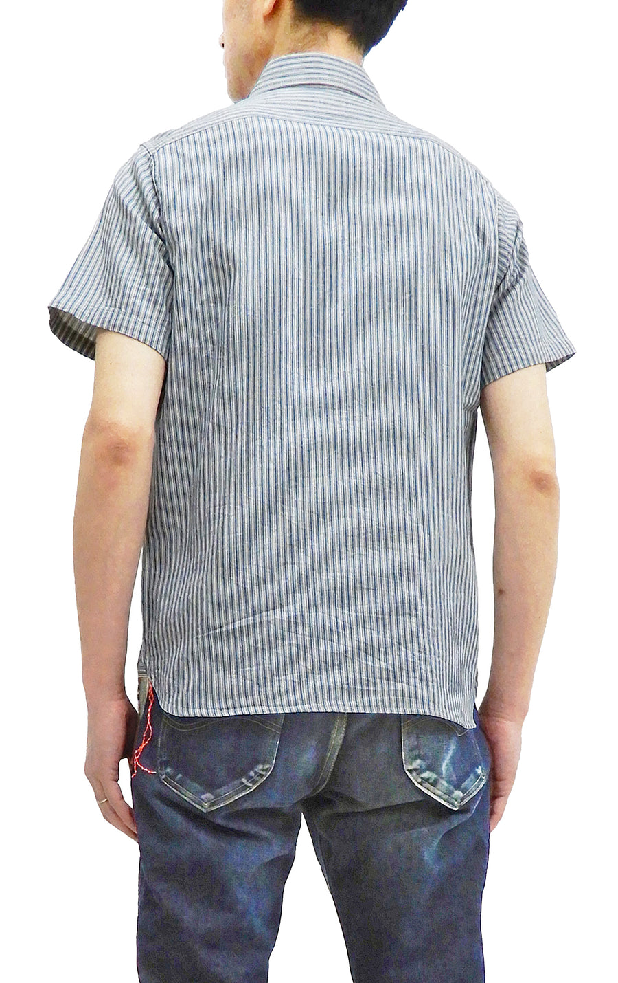 Sugar Cane Shirt Men's Short Sleeve Indigo Vertical Striped Work Shirt SC38694 Blue/Off-WHite Stripe