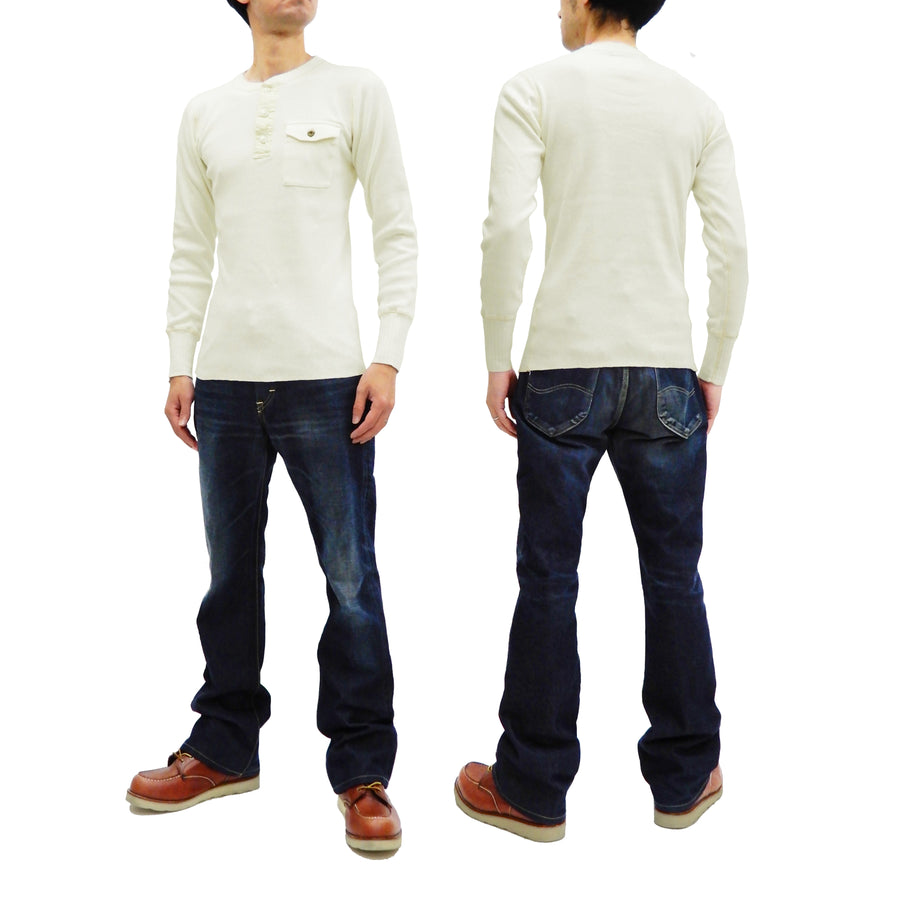 Sugar Cane Men's Plain Long Sleeve Henley T-Shirt Rib Knit Pocket Tee SC68351 Off-White