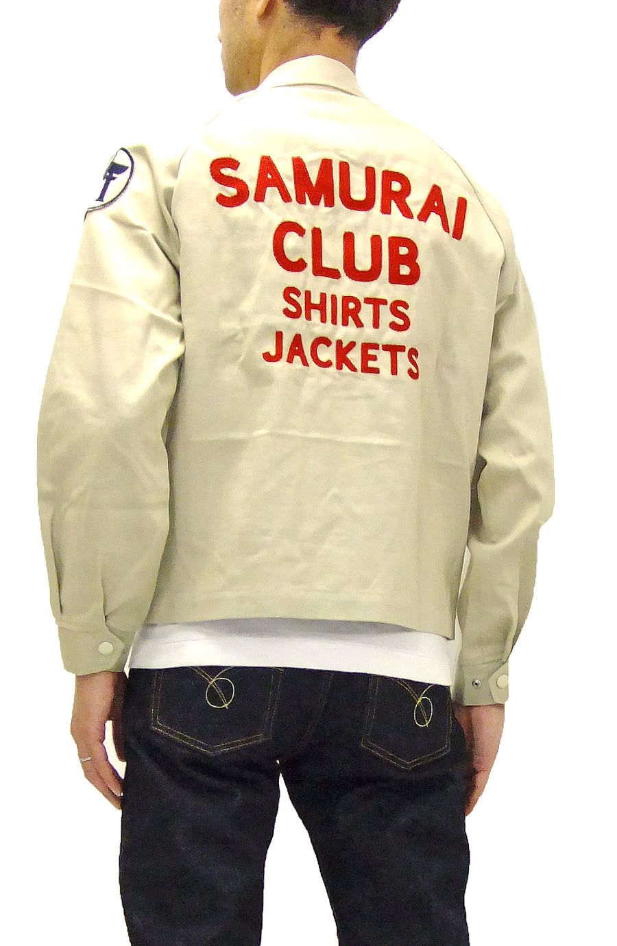 Samurai Jeans Embroidered Jacket Men's Cotton Lightweight Outerwear SCCJK19-02 Ivory