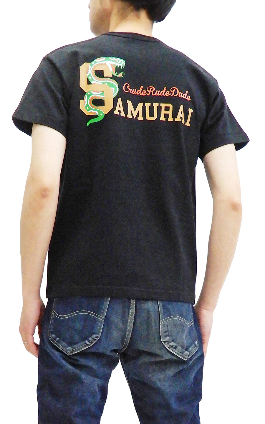 Samurai Jeans Men's T-shirt Short Sleeve Japanese Graphic Art Tee SCT19-102 Black