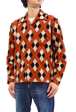 Style Eyes Corduroy Sport Shirt Men's Long Sleeve Button Up Shirt 1950s Style Argyle Pattern SE28534 Brown