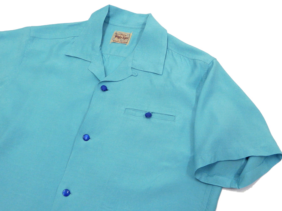 Style Eyes Plain Bowling Shirt Mens 1950s Style Solid Short Sleeve Button Up Shirt SE38368 Light-Blue