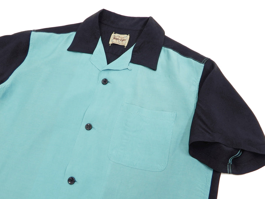 Style Eyes Bowling Shirt Men's 1950s Style Two Tone Solid Short Sleeve Button Up Shirt SE38371 Light-Blue