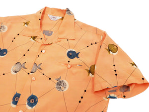 Star of Hollywood Shirt Men's 50's style Short Sleeve Button Up Shirt 50s Atomic Fish SH38128 Pink