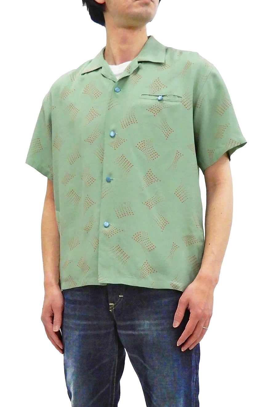 Star of Hollywood Shirt Men's 1950s Style Short Sleeve Button Up Shirt SH38385 Mint-Green