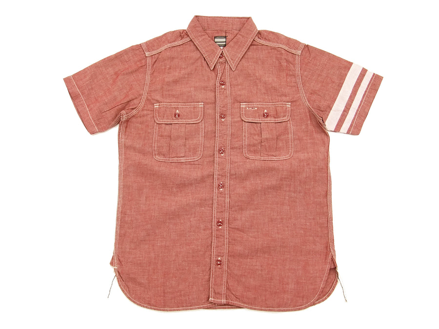 Momotaro Jeans Men's Chambray Shirt Short Sleeve Work Shirt with GTB Stripe SJ092 Red