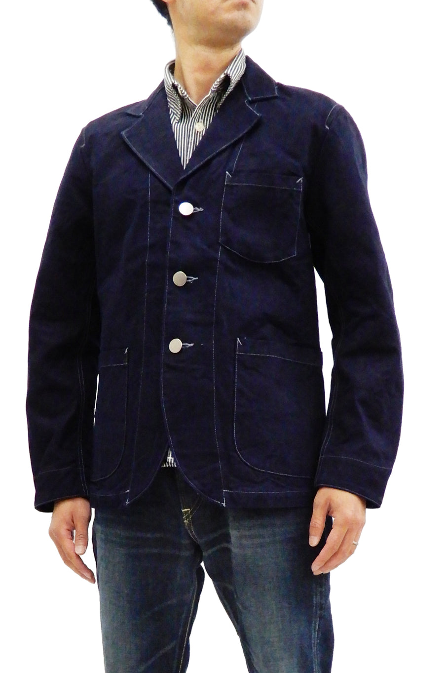 Samurai Jeans Sack Coat Men's Japanese Indigo-Dyed Canvas Blazer Jacket SJSC19