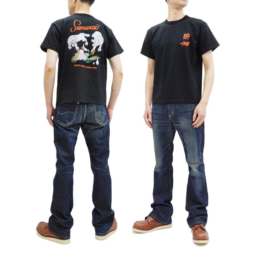 Samurai Jeans T-shirt Men's Japanese Art Graphic Short Sleeve Tee SJST21-104 Black