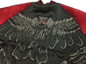 Hanatabi Gakudan Men's Japanese Souvenir Jacket Owl and Autumn Leaves Sukajan Script SKJ-179