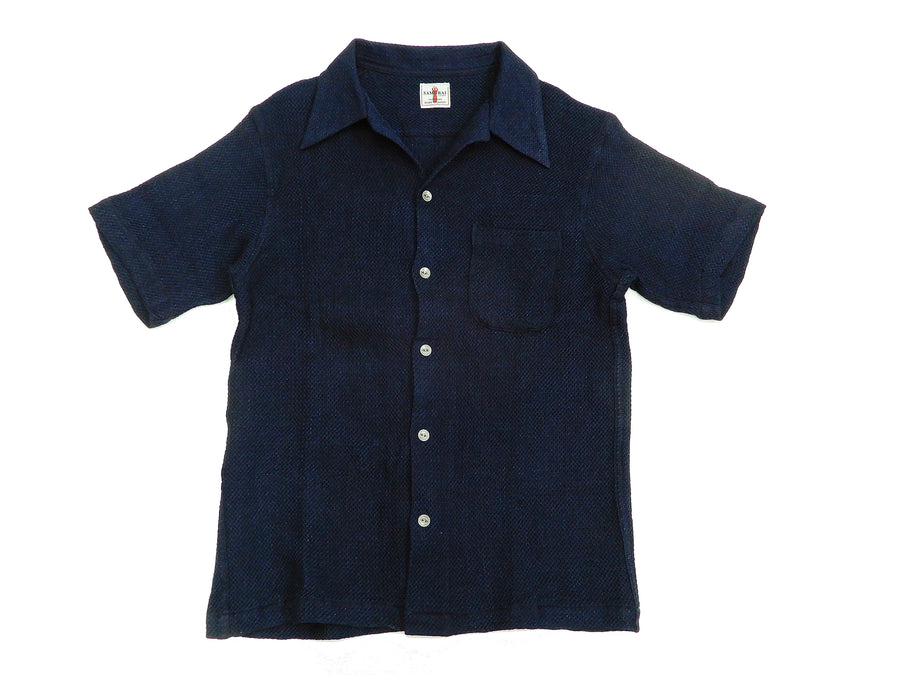Samurai Jeans Men's Slim Fit PLain Indigo Dobby Short Sleeve Shirt SOS19-S01 Deep-Indigo