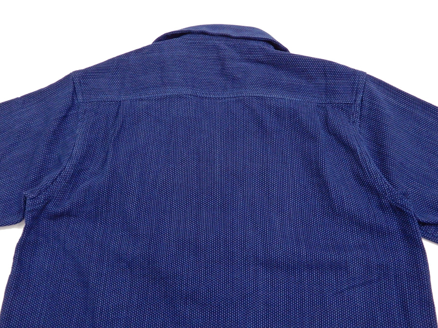 Samurai Jeans Sashiko Shirt Men's Plain Short Sleeve Button Up Shirt SOS20-S03 Indigo