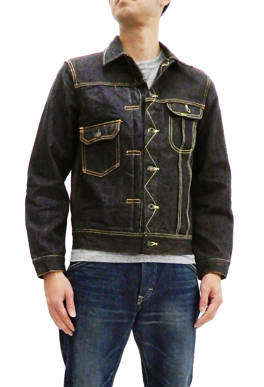 Studio D'artisan Jean Jacket Men's Denim Trucker Jacket with asymmetrical design SP-055