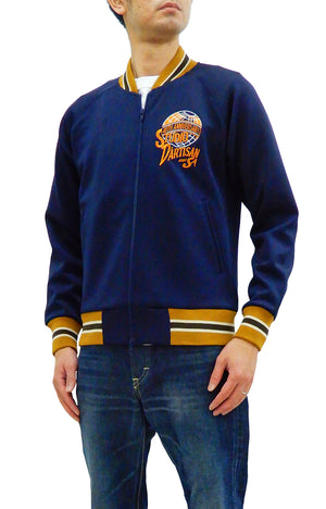 Studio D'artisan Men's Slim Fit Fashion Track Jacket Zip-Up with Embroidery SP-081 Navy-Blue