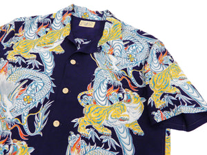 Sun Surf Hawaiian Shirt Men's Tornado Tiger Short Sleeve Aloha Shirt SS38417 Dark-Navy-Blue
