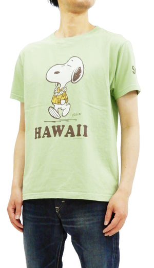 Sun Surf Men's T-shirt Loopwheeled PEANUTS Snoopy Short Sleeve Tee SS78116 Light-Green