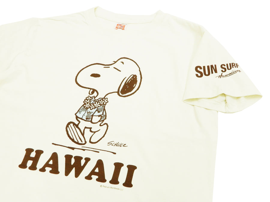 Sun Surf Men's T-shirt Loopwheeled PEANUTS Snoopy Short Sleeve Tee SS78116 Off-White