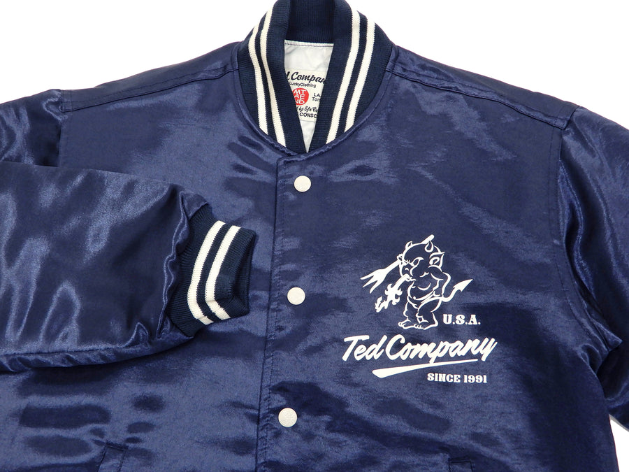 Tedman Men's Polyester Satin Varsity Jacket Custom Baseball Jacket TBBJ-040 Navy-Blue