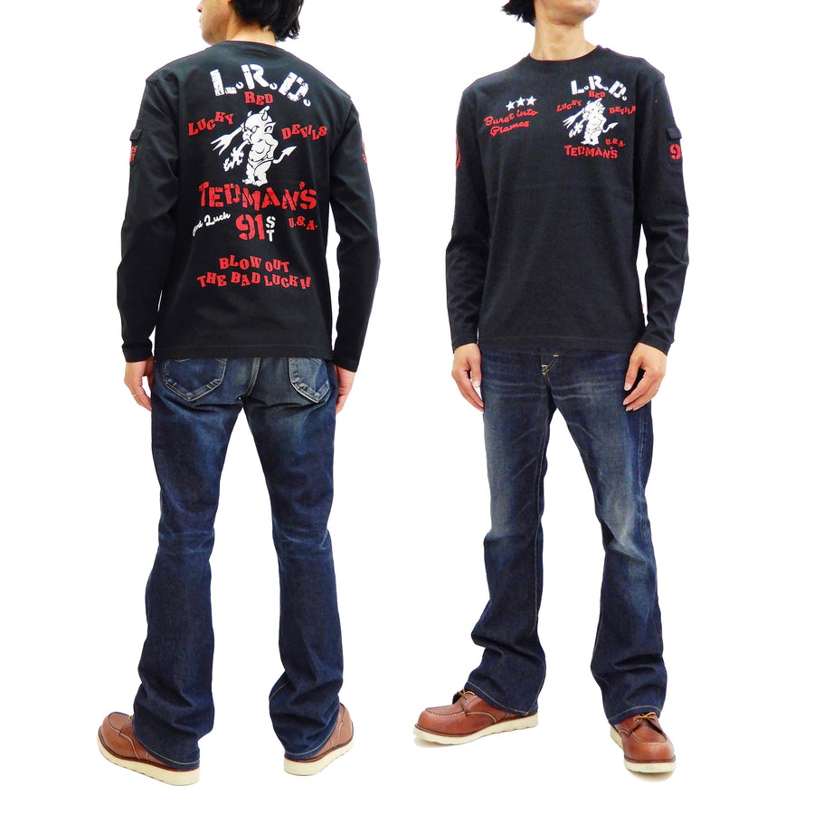 Tedman T-Shirt Men's Lucky Devil Stencil Style Graphic Long Sleeve Tee TDLS-336