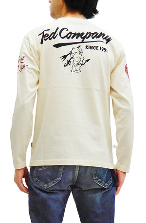 Tedman T-Shirt Men's Big Lucky Devil Graphic Long Sleeve Tee TDLS-337 Off-White