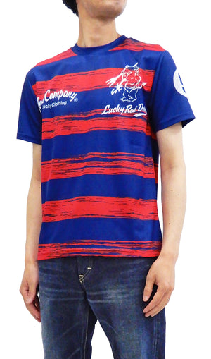 Tedman Quick Dry T-shirt Men's Lucky Devil Striped Short Sleeve Tee TDRYT-500 Red/Navy-Blue