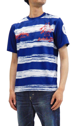 Tedman Quick Dry T-shirt Men's Lucky Devil Striped Short Sleeve Tee TDRYT-500 White/Navy-Blue