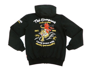 Tedman Full Zip Hoodie Men's Embroidered Zip-Up Hooded Sweatshirt TDSP-153 Black-Color