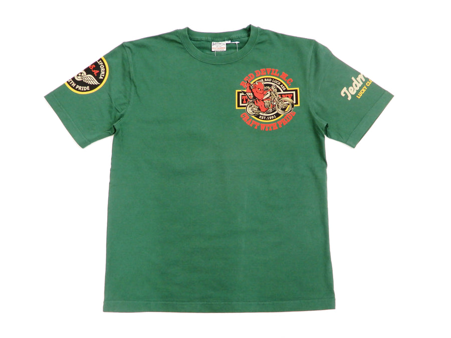 Tedman T-Shirt Men's Short Sleeve American Motorcycle Graphic Tee TDSS-492 Green-Color