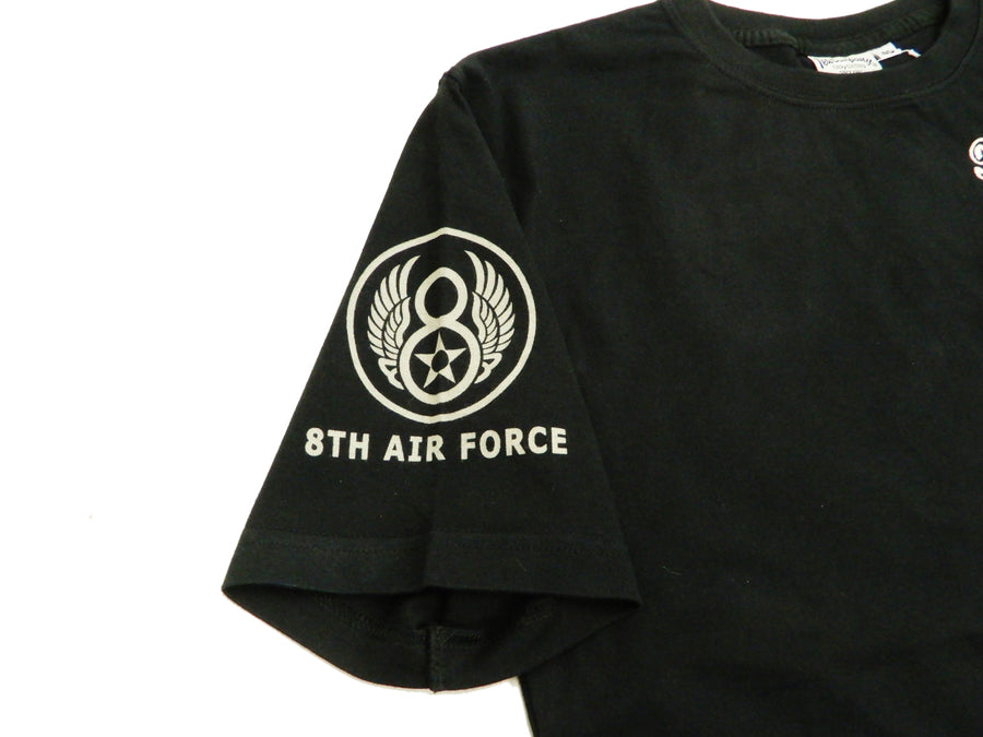 Tedman Men's Short Sleeve T-Shirt Air Force Military Embroidered Tee TDSS-497 Black-Color