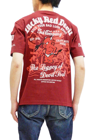 Tedman T-Shirt Men's Short Sleeve Japanese Pagoda and torii Graphic Tee TDSS-501 Wine-Color