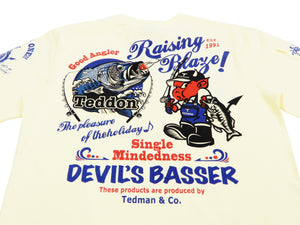 Tedman T-Shirt Men's Short Sleeve Bass fishing Graphic Tee Efu-Shokai TDSS-502 Off-Color