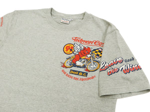 Tedman T-Shirt Men's Short Sleeve Motorcycle Racing Graphic Tee TDSS-504 Ash-Gray-Color