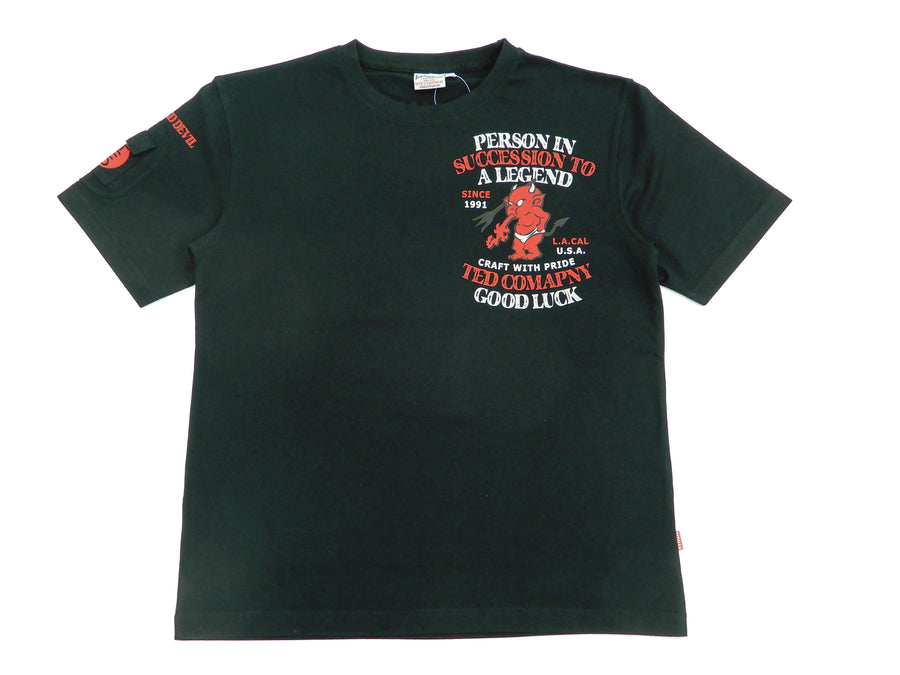 Tedman T-Shirt Men's Lucky Red Devil Graphic Short Sleeve Tee TDSS-506 Black-Color