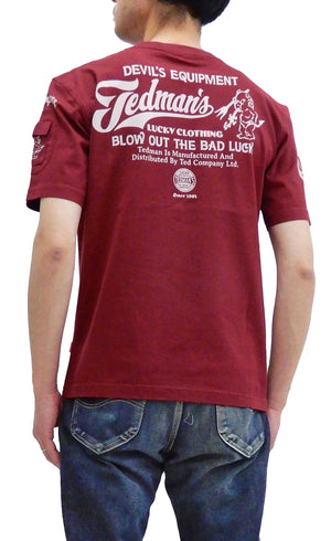 Tedman T-Shirt Men's Lucky Devil Logo Graphic Short Sleeve Tee TDSS-512 Wine-Color