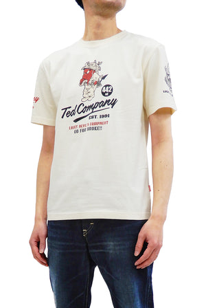 Tedman T-Shirt Men's Lucky Devil U.S. Army Graphic Short Sleeve Tee TDSS-520 Off-Color
