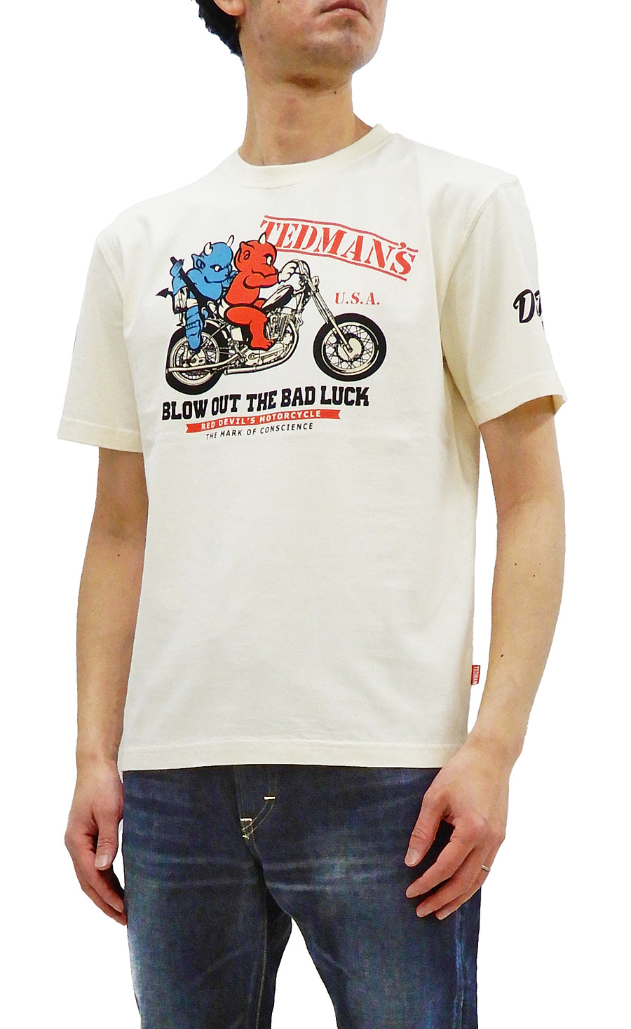 Tedman T-Shirt Men's Lucky Devil Motorcycle Graphic Short Sleeve Tee TDSS-532 Off White