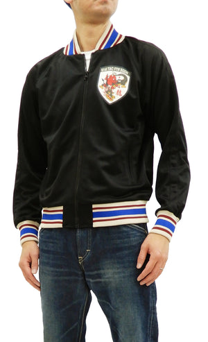 Tedman Men's Casual Zip-Up Track Jacket with Lucky Devil Graphic TJS-2900 Black/Black