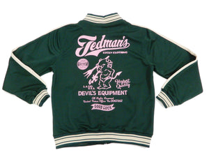 Tedman Men's Casual Zip-Up Track Jacket with Lucky Devil Graphic TJS-3200 Green