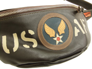 TOYS McCOY Leather Sling Bag Men's Casual USAF Military Style TMA1606 Brown