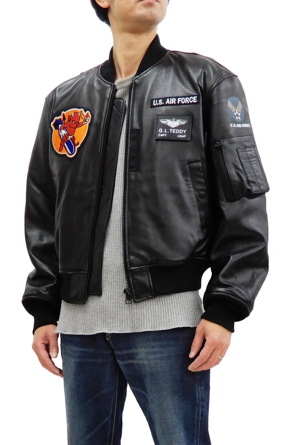 Tedman MA-1 Leather Jacket Men's Genuine Lambskin Custom Bomber MA1 TMAL-540 Black